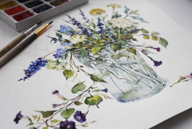 Курс ботанической иллюстрации (акварель) – «Полевые цветы» - слайд 1